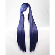 cos anime lyse fargede parykker mørkeblå lang rett hår parykk 80 cm