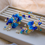 Fashion Blue Color With Pearl And Crystal Hair Clip Style 2Pcs Packing Wedding Headpiece (Set of 2) A1065N