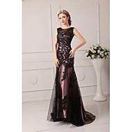 Formal Evening Dress - Black Plus Sizes / Petite A-line Jewel Court Train Tulle