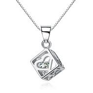 jazlyn® autentico platinato Argento 925 collana delle donne della catena cuore vuoto casella 1 millimetro zirconi piazza