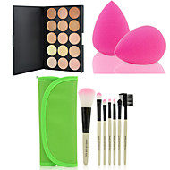 HOT SALE 15 Colors Contour Face Cream Makeup Concealer Palette + 7PCS Green Makeup Brushes Set Kit + Powder Puff