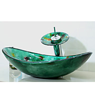 Multicolour Boat-shaped Tempered Glass Vessel Sink with Waterfall Faucet  Pop - Up Drain and Mounting Ring