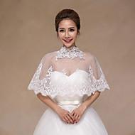 Gorgeous Women's Wedding Wraps Tartan Ponchos Sleeveless Lace Bridal Bolero Shrug