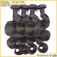 """4шт / много 10 """"-28"""" перуанский девственные волосы натуральный черный теле волны ткать необработанный уток человеческих волос"""