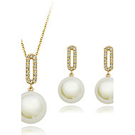 Women's Fashion Elegant Shiny Necklace & Earrings Wedding Jewelry Set