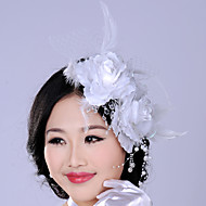 Women's Feather/Crystal/Imitation Pearl/Chiffon/Net Headpiece - Wedding/Special Occasion Flowers 1 Piece