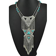 New Arrival Bohemia Style Vintage Tibetan Silver and Turquoise Beads Tassel Pendants Necklaces for Women 2015