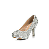 Women's Shoes Leatherette Stiletto Heel Heels/Round Toe Pumps/Heels Wedding Silver