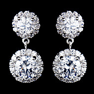 Vintage Women's Round Zircon Earrings  Diamond  Silver Earring For Wedding Bridal