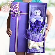 1 Lavender Bear And 11 Soap Flowers Bouquet Valentine's Day Gift Wedding Bouquet