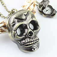 Men's Skull Pattern Analog Quartz Pocket And Necklace Skeleton Watch Cool Watches Unique Watches