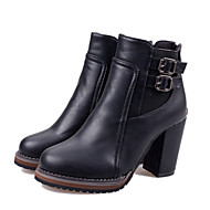 Women's Shoes Faux Leather Chunky Heel Combat Boots Boots Casual Black/Brown