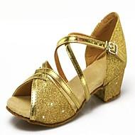 Non Customizable Women's/Kids' Dance Shoes Latin Leatherette/Paillette Low Heel Black/Blue/Pink/Red/Gold