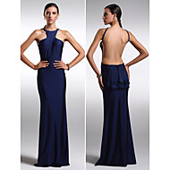 Formal Evening Dress - Dark Navy Plus Sizes / Petite Sheath/Column Jewel Floor-length Charmeuse