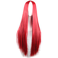 New Anime Cosplay Carve Long Straight Red Hair Wig 80CM
