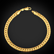 "U7® Men's  18K Gold Plated Figaro Chunky Bracelets 5MM 21CM With ""18K"" Stamp High Quality   Jewelry"