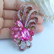 2.56 Inch Gold-tone Pink Rhinestone Crystal Flower Brooch Pendant Art Decorations
