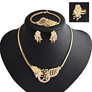 Lucky Doll Women's Vintage 18K Gold Plated Zirconia Flower Necklace & Earrings & Bracelet & Ring Jewelry Sets