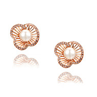 Women's Imitation Pearl/Fashion Hollow Out Flower Alloy Stud Earrings