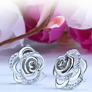 Women's Gold/Silver Stud Earrings With Cubic Zirconia