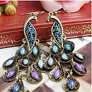 MPL Vintage folk style peacock Diamond Earrings