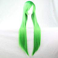 ny anime cosplay grøn lange lige hår paryk 80cm