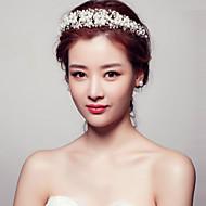 Bride's Flower Shape Pearl Rhinestone Forehead Wedding Headdress Crown 1 PC