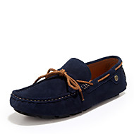 Men's Shoes Casual Leather Boat Shoes Blue/Red/Gray