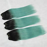 """3 шт / много + 10 """"-18"""" + Малайзии (итальянский) девственные волосы + цветной (1b / зеленый) + прямой .."""