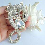 3.94 Inch Gold-tone Clear Rhinestone Crystal Lizard Brooch Pendant Art Decorations