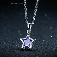 Women's Silver Star Style Necklace With Cubic Zirconia