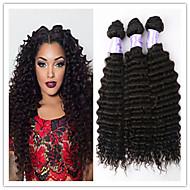 3pcs / lot sin procesar onda profunda extensiones del pelo virginal brasileña del pelo humano del pelo negro natural teje