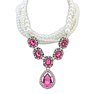Women's European Style Fashion Princess Water Droplets Acrylic Necklace With Imitation Pearl