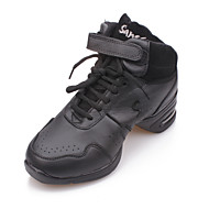 Non Customizable Women's/Men's Dance Shoes Jazz Leather/Canvas Flat Heel Black