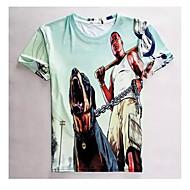 kvinnor hög kvalitet kreativa speciella djur fritid sommar andas 3d utformar t-skjortan - en man och en hund