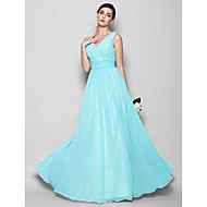 Lanting Floor-length Georgette Bridesmaid Dress - Sky Blue Plus Sizes / Petite A-line / Sheath/Column V-neck
