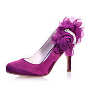 Women's Shoes Satin Stiletto Heel Round Toe Pumps/Heels Wedding/Party & Evening Blue/Purple/Ivory/White/Silver/Champagne