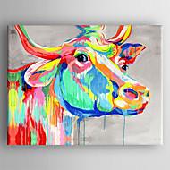 peinture à l'huile couleur vache tête peinte à la main toile tendue avec encadrée prêt à accrocher