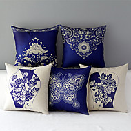 Set of 5 Country Style Porcelain Patterned Cotton/Linen Decorative Pillow Covers