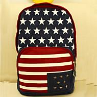 Unisex Denim Outdoor Backpack Blue / Brown