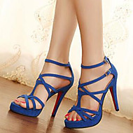 Sexy Cross Strap Peep Toe Women's Stiletto Heel Platform Pumps/Heels Shoes