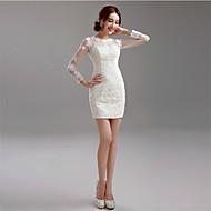 Sheath/Column Wedding Dress-Short/Mini Jewel Lace