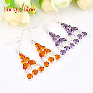 Fashion Fire Amethyst Brazil Citrine Gem Prong Setting Earring 925 Silver Drop Earrings For Wedding Party Daily 1pair