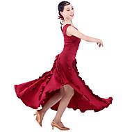 여성용 - 모던댄스 - 드레스 ( 블랙/퓨샤/버간디 , 우유 섬유 , 버튼/러플 )
