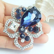 2.36 Inch Silver-tone Ink Blue Rhinestone Crystal Flower Brooch Pendant Art Decorations