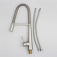 Solid Brass Nickel Brushed Deck Mounted Single Handle Single Hole Pull Down Kitchen Faucet