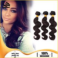 3pcs / lot virginal del pelo humano teje del pelo brasileño de la trama del cuerpo de la onda del pelo lía cabello cabello humano marrón