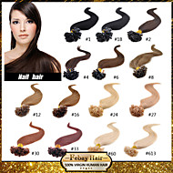 """Brasilian neitsyt ihmisen keratiini hiustenpidennykset valmiiksi liimattu kynsien hiukset u kärki hiukset 16 """"-24"""" 0,5 g / s 100g / kpl"""