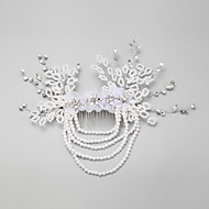 Women's / Flower Girl's Rhinestone / Alloy / Imitation Pearl / Chiffon Headpiece-Wedding / Special Occasion Hair Combs 1 Piece White Round