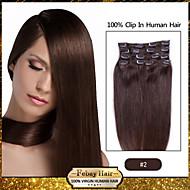 clip in hair extensions dark brown (color 2#)